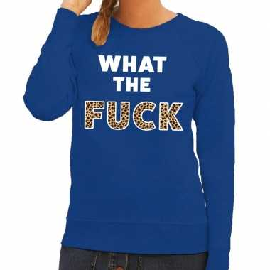 What the fuck fun sweater blauw voor dames
