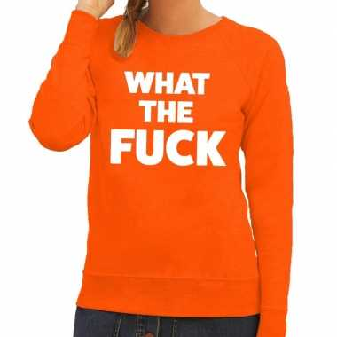 What the fuck fun sweater oranje voor dames