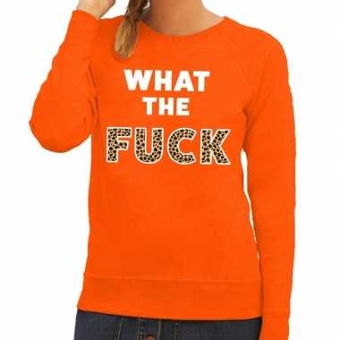 What the fuck fun sweater oranje voor dames