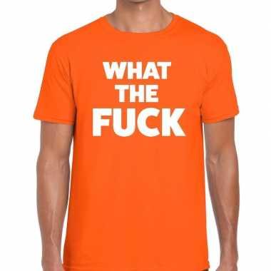 What the fuck fun t-shirt oranje voor heren