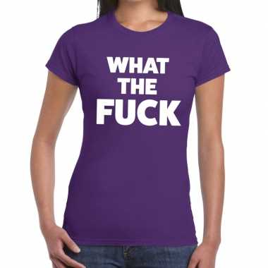 What the fuck fun t-shirt paars voor dames