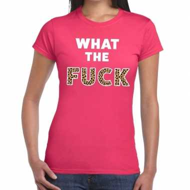 What the fuck tijger print fun t-shirt roze voor dames