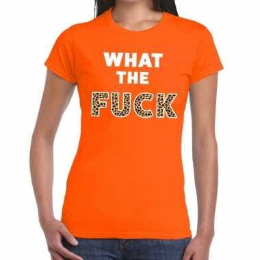 What the fuck tijgerprint fun t-shirt oranje voor dames