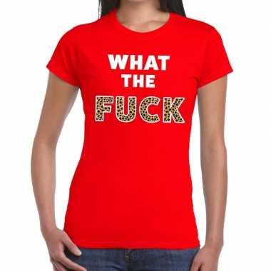 What the fuck tijgerprint fun t-shirt rood voor dames