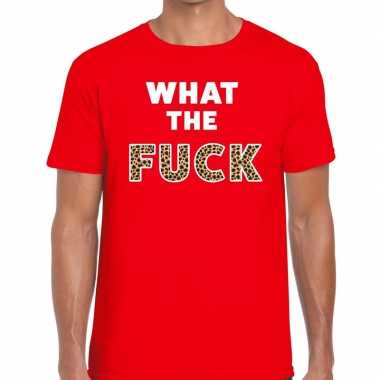 What the fuck tijgerprint fun t-shirt voor heren rood