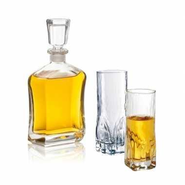 Whiskey set inclusief karaf en twee hoge glazen