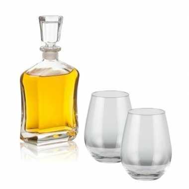 Whiskey set inclusief karaf en vier bolvormige glazen