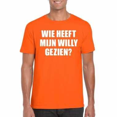 Wie heeft mijn willy gezien shirt oranje heren