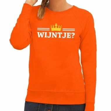Wijntje met kroontje sweater oranje dames