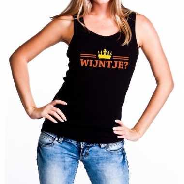 Wijntje tanktop / mouwloos shirt zwart voor dames