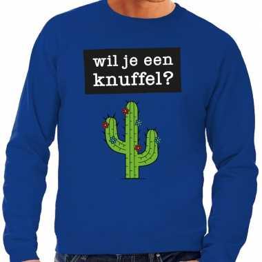 Wil je een knuffel fun sweater blauw voor heren