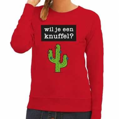Wil je een knuffel fun sweater rood voor dames