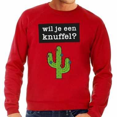 Wil je een knuffel fun sweater rood voor heren