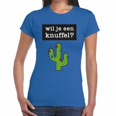 Wil je een knuffel fun t-shirt blauw voor dames