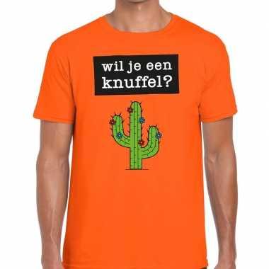 Wil je een knuffel fun t-shirt oranje voor heren