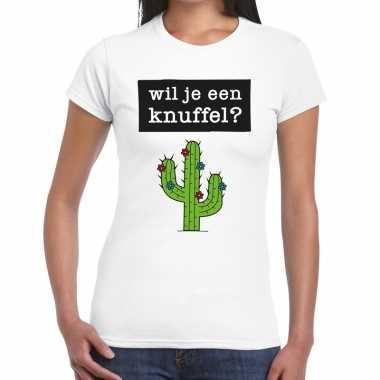 Wil je een knuffel fun t-shirt wit voor dames