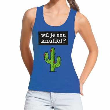 Wil je een knuffel fun tanktop / mouwloos shirt blauw voor dames