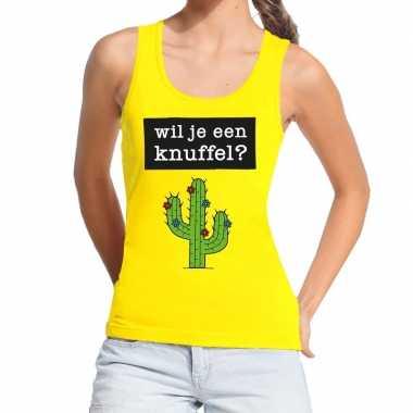 Wil je een knuffel fun tanktop / mouwloos shirt geel voor dames