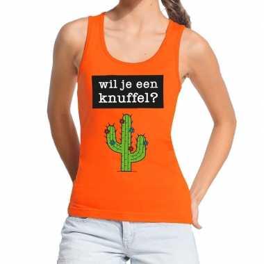 Wil je een knuffel fun tanktop / mouwloos shirt oranje voor dames