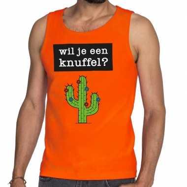 Wil je een knuffel fun tanktop / mouwloos shirt oranje voor heren