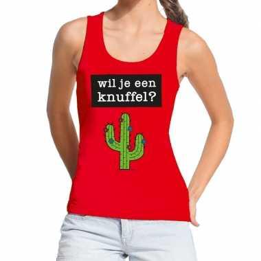 Wil je een knuffel fun tanktop / mouwloos shirt rood voor dames