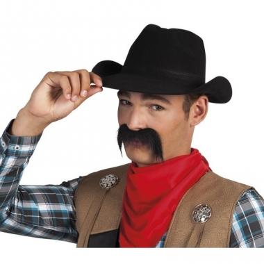 Wilde westen cowboy snor zwart