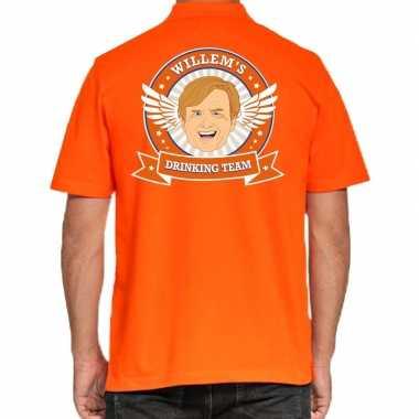 Willems drinking team polo t-shirt oranje met kroon voor heren