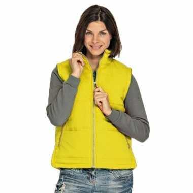 Winddichte bodywarmers geel voor dames