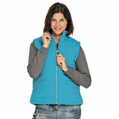 Winddichte bodywarmers turquoise voor dames