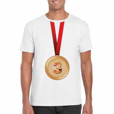 Winnaar bronzen medaille shirt wit heren