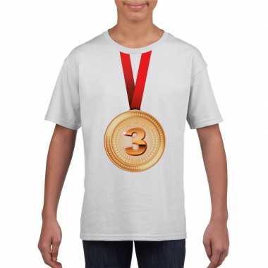 Winnaar bronzen medaille shirt wit kinderen