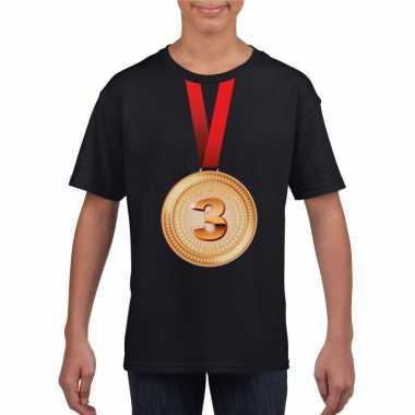 Winnaar bronzen medaille shirt zwart kinderen