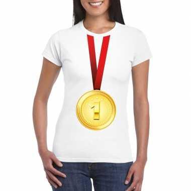Winnaar gouden medaille shirt wit dames