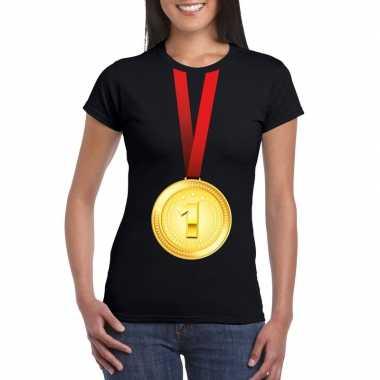 Winnaar gouden medaille shirt zwart dames