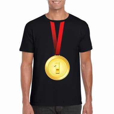 Winnaar gouden medaille shirt zwart heren