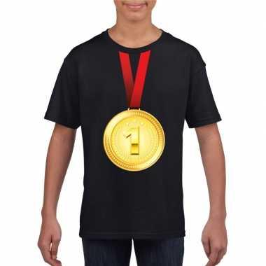 Winnaar gouden medaille shirt zwart kinderen