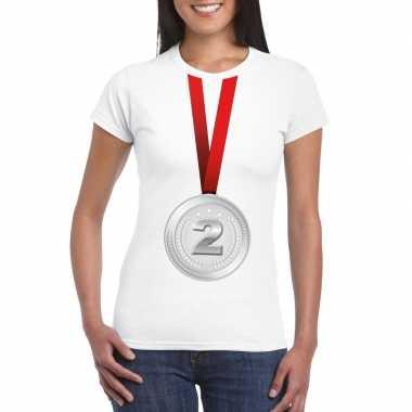 Winnaar zilveren medaille shirt wit dames