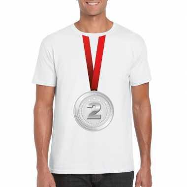 Winnaar zilveren medaille shirt wit heren
