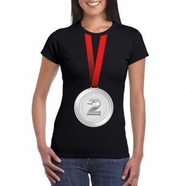 Winnaar zilveren medaille shirt zwart dames