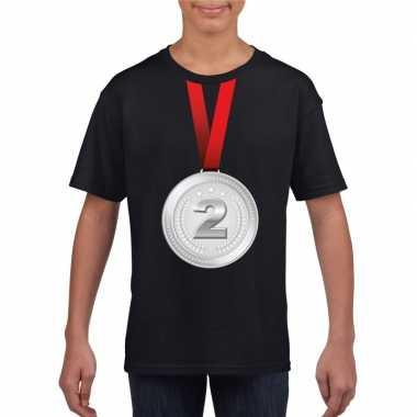 Winnaar zilveren medaille shirt zwart kinderen