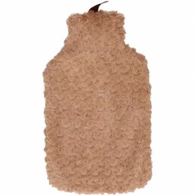 Winter kruik met bruine pluche hoes 2 liter