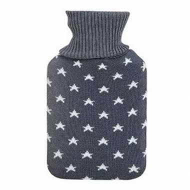 Winter kruik met grijs gebreide hoes en sterren 1 liter