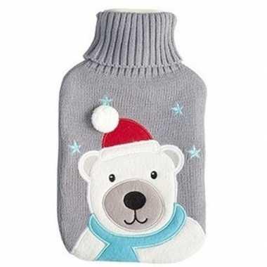 Winter kruik met kerst ijsbeer grijze hoes 2 liter