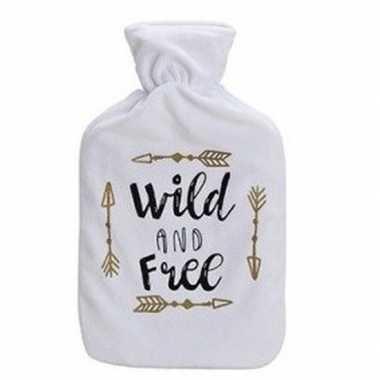 Winter kruik met witte fleecehoes en tekst wild 2 liter