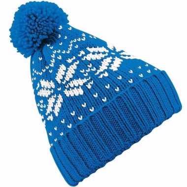 Wintermuts nordic print blauw voor jongens