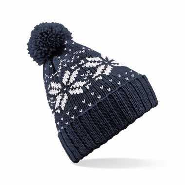 Wintermuts nordic print navy blauw voor meisjes
