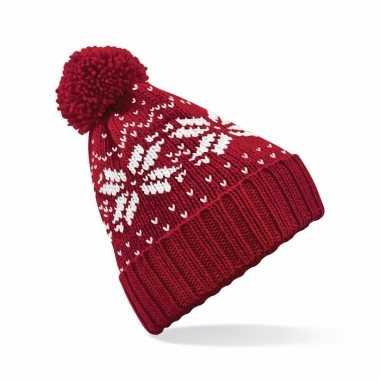 Wintermuts nordic print rood voor meisjes