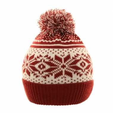 Wintermuts nordic print rood/wit voor meisjes