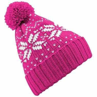 Wintermuts nordic print roze voor meisjes