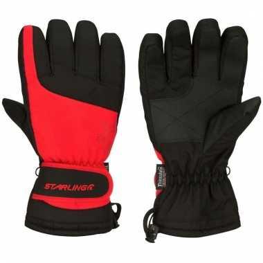 Wintersport handschoenen voor volwassenen rood/zwart